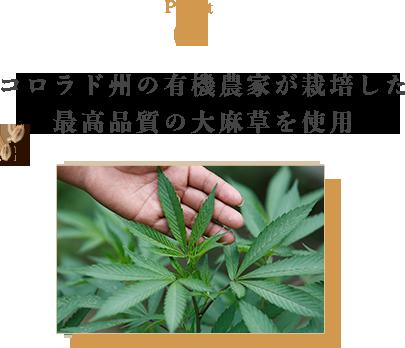 コロラド州の有機農家が栽培した最高品質の大麻草を使用